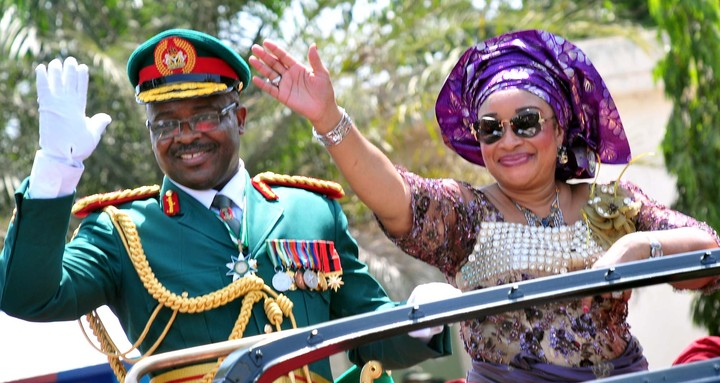 FORMER CHIEF OF ARMY STAFF, LT.-GEN.  AZUBUIKE IHEJIRIKA  (L),  WITH HIS WIFE, GIFT, DURING THEIR PULLING OUT IN ABUJA  ON THURSDAY (13/2/14).