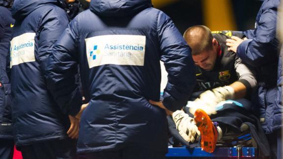 Victor Valdes Was Injured in the First Half of Last Wednesday's La Liga Game Against Celta Vigo at the Nou Camp.