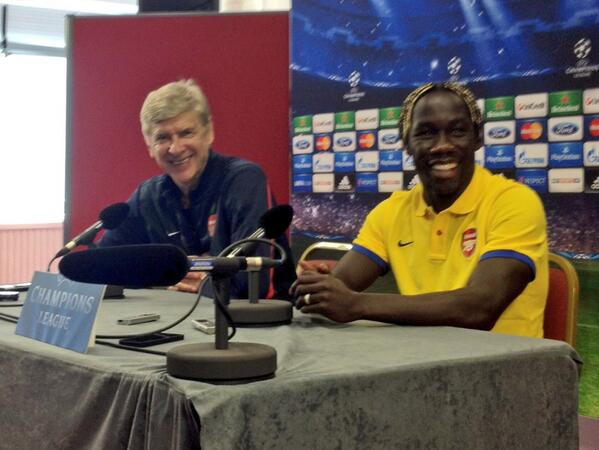 Sagna and Arsene Wenger During a Champions League Press Conference.