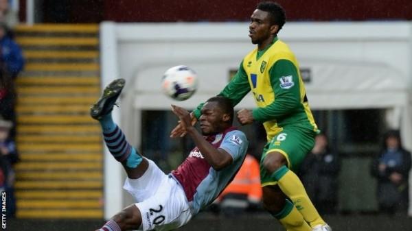 Yobo tackles christian Benteke During a Premier League Game.