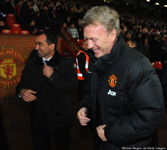David Moyes and Roberto Martinez Pictured During a Premier League Match at Old Trafford.