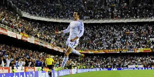 Gareth Bale Celebrates Scoring the Copa Del Rey Final Winning-Goal Against Barcelona Last Season. Image: AFP/ Getty Image.