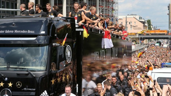 Germany's Open-Roof Top Bus Parade in Berlin. Image: AFP.