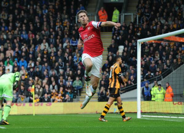 Aaron Ramsey Celebrates Scoring Against Hull.