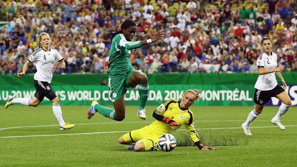 Goalkeeper Meike Kamper's Man-of-the-Match Performance Denied Nigeria Several Gilt-Edged Chances in Montreal. Image: Getty.