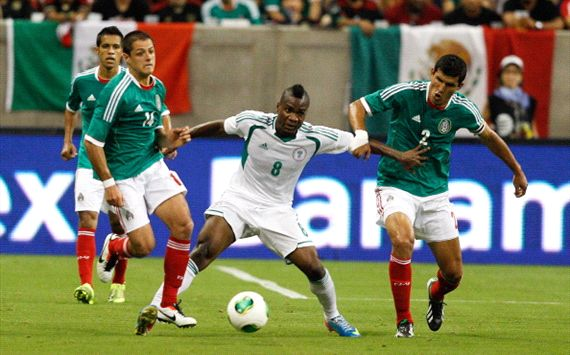 Ideye Contest for Ball During Nigeria's Friendly Match Against Mexico in Houston Last Year.