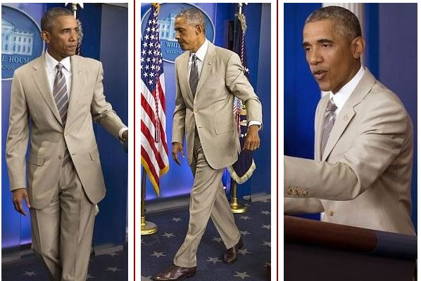 Image result for photos of president obama in tan suit