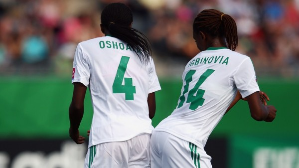 Oshoala Celebrates With Team-Mate Osarenoma Igbinovia After Scoring Her Fourth Goal of the Fifa U-20 Women's World Cup in Canada. Image: Getty Image.