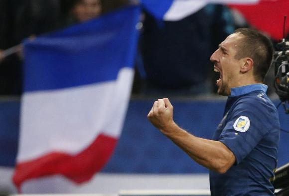 Franck Ribery Celebrates After Scoring Against Finland During the 2014 World Cup Qualifying Fixtures.  Image: Reuters.