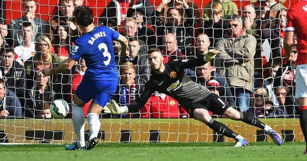 David de Gea Saves Leighton Baines' Penalty in First-Half Injury -Time Against Everton on Sunday. Image: Getty.