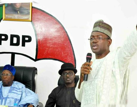 FROM LEFT: PDP NATIONAL CHAIRMAN,DR BAMANGA TUKUR; ACTING DEPUTY NATIONAL CHAIRMAN, CHIBUDUM NWUCHE AND MINISTER OF INFORMATION, MR LABARAN MAKU, DURING THE MINISTER'S PRESENTATION OF MID-TERM REPORT TO THE NATIONAL WORKING COMMITTEE OF THE PARTY IN ABUJA IN JULY (PHOTO CREDIT: NAN)