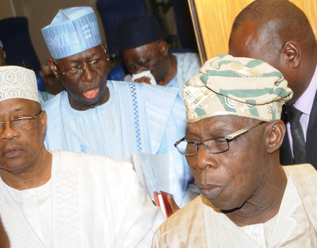 FROM LEFT: FORMER MILITARY PRESIDENT, GEN. IBRAHIM BABANGIDA; CHAIRMAN, PDP BOARD OF TRUSTEES (BoT), CHIEF TONY ANENIH AND FORMER PRESIDENT, CHIEF OLUSEGUN OBASANJO, AFTER A MEETING OF THE BoT WITH PDP FACTION LEADERS IN ABUJA (NAN)