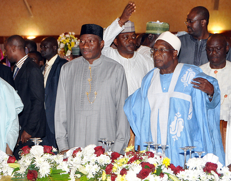 FROM LEFT: VICE-PRESIDENT NAMADI SAMBO; PRESIDENT GOODLUCK JONATHAN; PDP NATIONAL CHAIRMAN, ALHAJI BAMANGA TUKUR AND PDP BOT CHAIRMAN, CHIEF TONY ANENIH, AT THE PARTY'S POST CONVENTION DINNER IN ABUJA ON SUNDAY