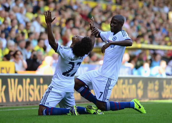 Willian Celebrates His First League Goal for the Blues.