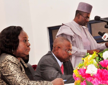 FROM LEFT: PERMANENT SECRETARY, MINISTRY OF INFORMATION, DR FOLASHADE ESAN; THE MINISTER, MR LABARAN MAKU AND ACTING MANAGING DIRECTOR, NEWS AGENCY OF NIGERIA (NAN), OTUNBA JIDE ADEBAYO, AT THE MINISTER OF INFORMATION'S MONTHLY WORLD NEWS CONFERENCE IN ABUJA ON TUESDAY