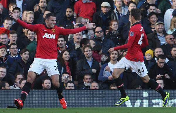 Robin van Persie Celebrates His Goal Against Fulham.