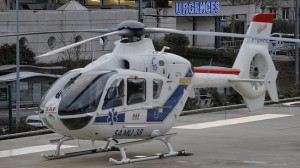 A helicopter in front of the Grenoble hospital, French Alps, where Michael Schumacher is being treated after he sustained a head injury