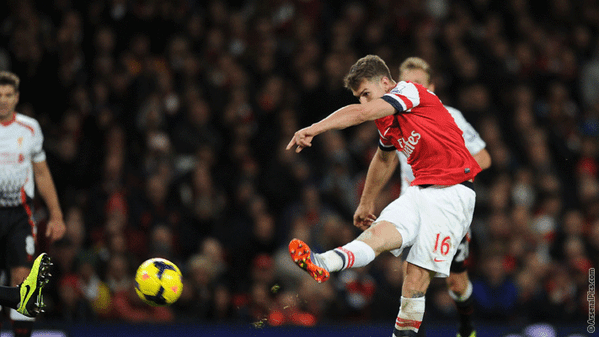 Aaron Ramsey's Strike Against Liverpool Early in the Season.