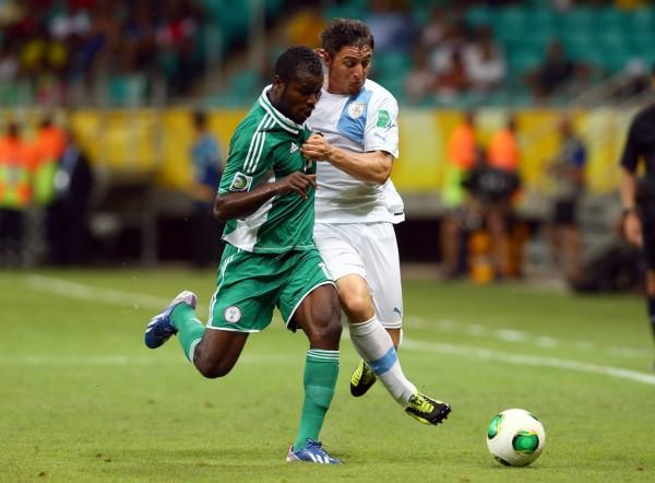 Fegor Ogude in Action for the Super Eagles.