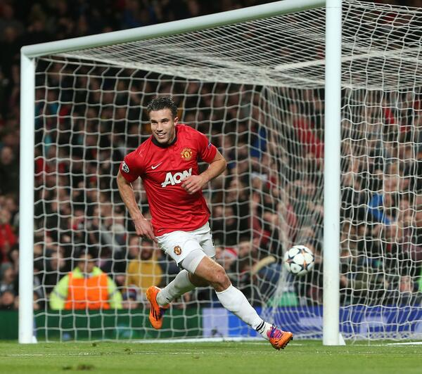 Robin van Persie Celebrates His Goal Against Olympiacos at Old Trafford.