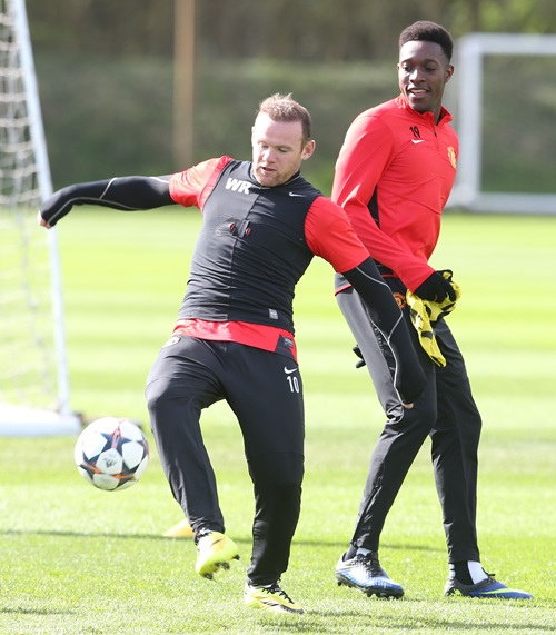 Wayne Rooney in Action This Morning at the Aon Training Complex.