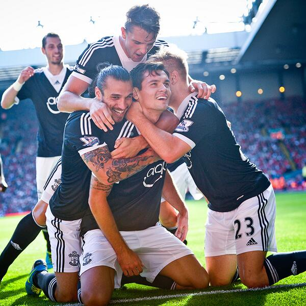 Dejan Lovren Celebrates Scoring for Southampton Last Season.