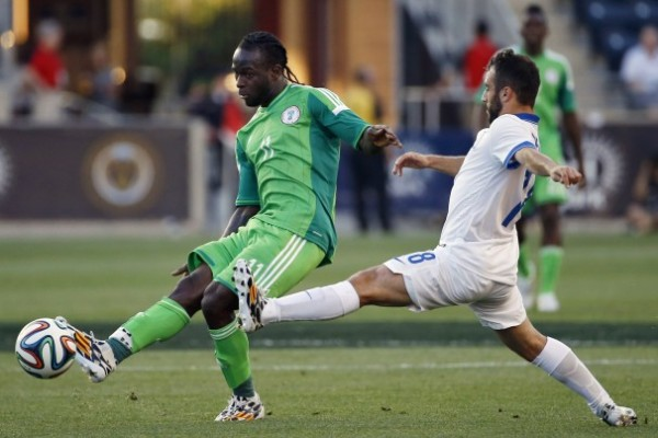 Victor Moses Pictured During Nigeria's World Cup Warm-up Against Greece in the USA. Image: AP.