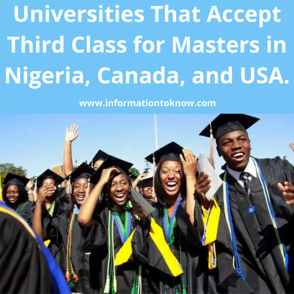 Universities that Accept Third Class for Masters in Nigeria, Canada and USA