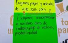 Toman oficinas del IEEA en Huajuapan; denuncian despidos y adeudos