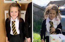 Las FOTOS del antes y después del primer día de clases de una niña en Escocia se vuelven virales