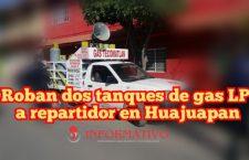 Roban dos tanques de gas LP a repartidor en Huajuapan
