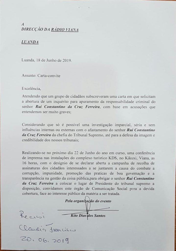 Recolha de assinatura para destituição de Rui Ferreira
