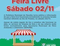 Macaíba: Comunicado da Prefeitura sobre a feira livre no próximo feriado