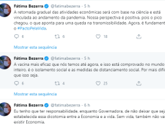 Totalmente desorientada Fátima Bezerra fala em seu Twitter sobre o  Coronavírus
