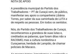 PENSE EM UM PARTIDO SEM NOÇÃO: Mulher filiada ao PT chama policial de 'macaco' e partido a defende em nota dizendo que o termo não expressa racismo