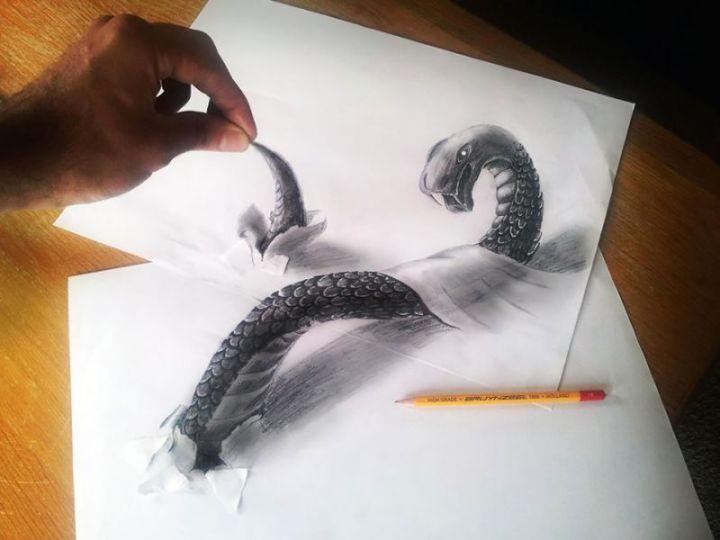 contoh gambar 3 dimensi ular