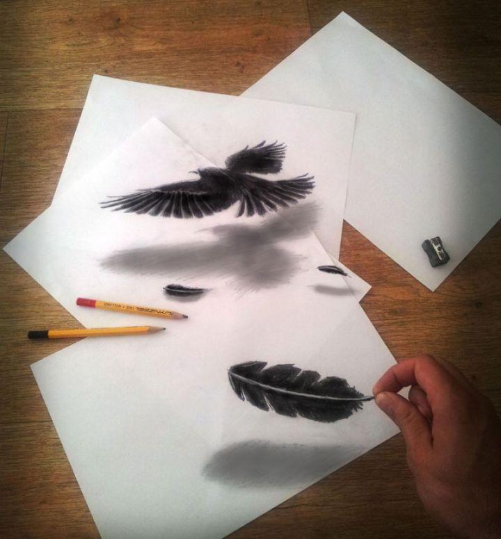 contoh gambar 3 dimensi burung