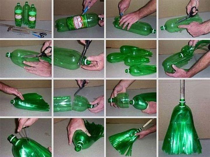 kreasi daur ulang sapu dari botol plastik