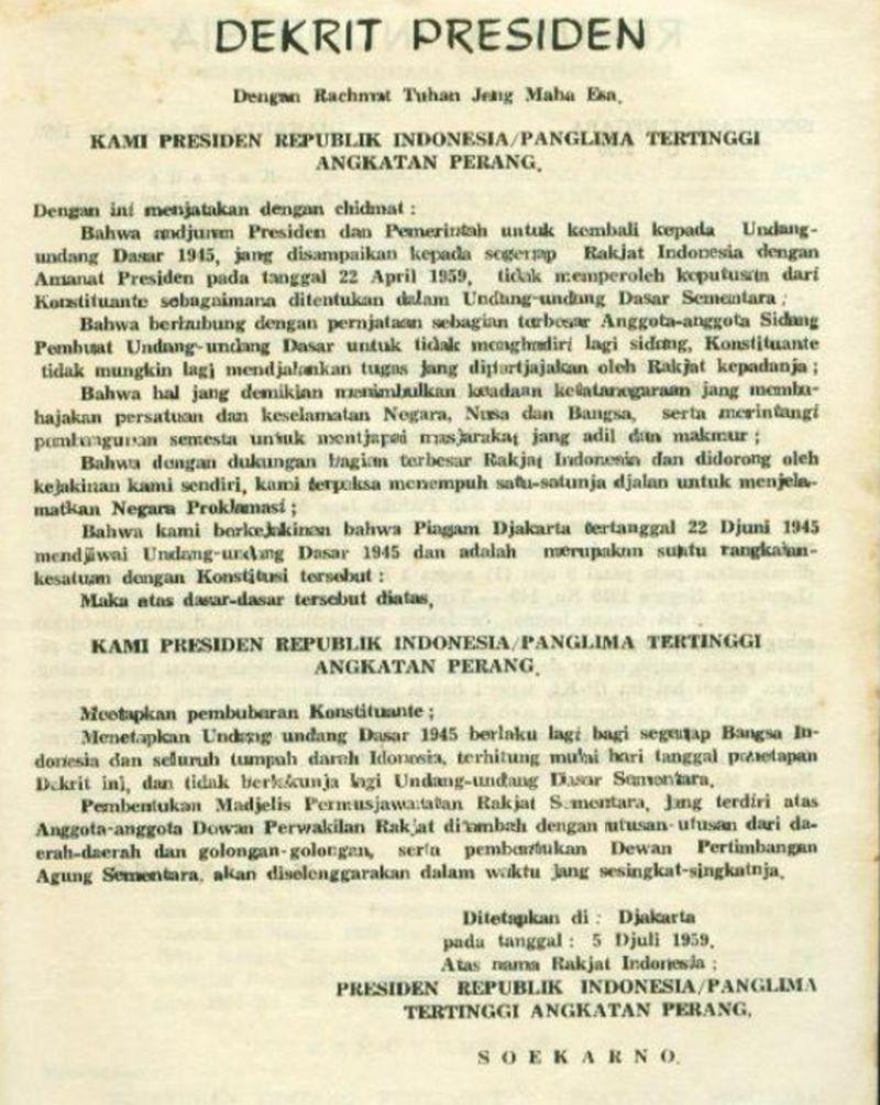 Inilah Isi Dekrit Presiden 5 Juli 1959 - Materi Belajar