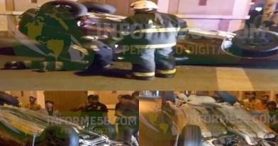Video: Vehículo termina con las 4 gomas pa'rriba tras accidente frente a la Gobernación