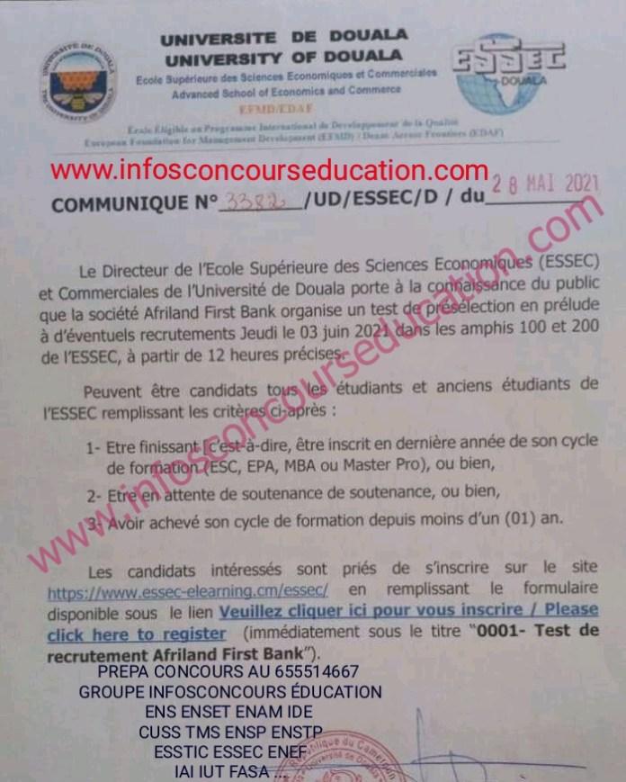 Test de présélection en vue d'un recrutement à l'ESSEC de Douala - Afriland First Bank
