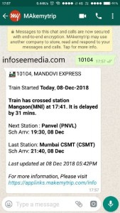 train status through whatsapp