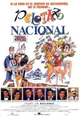 Cartel de Pelotazo Nacional (Mariano Ozores, 1993), dibujado por Antonio Mingote