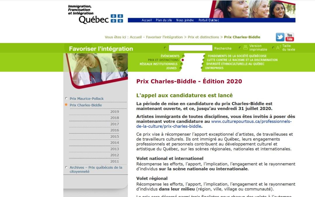 Prix Charles-Biddle 2020. L'appel de candidatures est lancé!