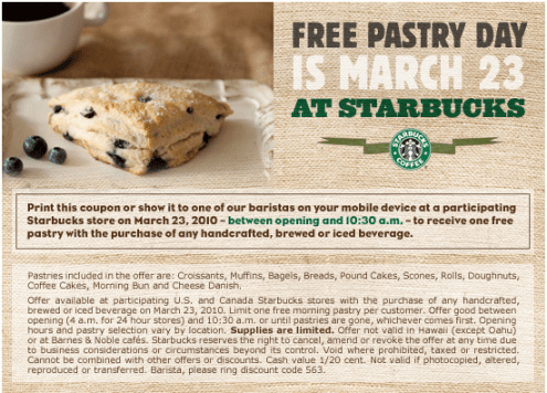 Starbucks Pastry Day