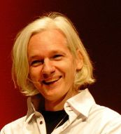 Picture of Julian Assange during a talk at 26C3
