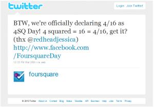 It's Foursquare Day 1