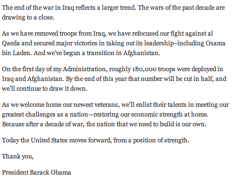 President Obama Speaks About Bringing US Troops Home 2