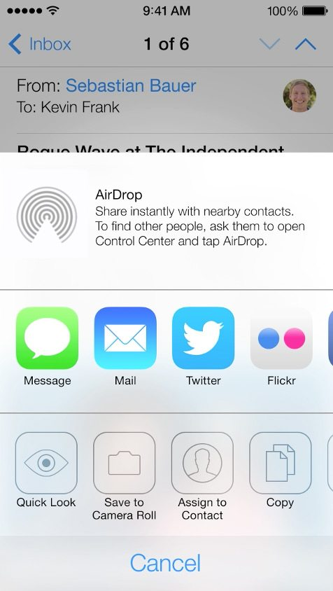 AirDrop in iOS 7