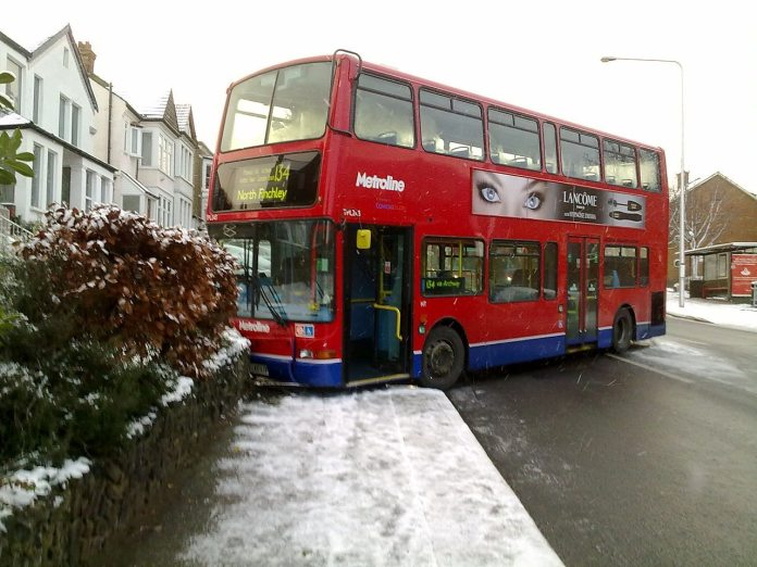 bus in snow